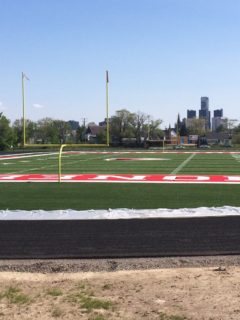 Gleaming new football field rising from Detroit's decimated urban prairie