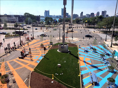 Car-free pedestrian plazas suddenly all the rage in the Motor City
