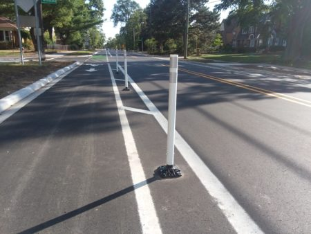 Semi-protected bike lanes appear on Pinecrest in Ferndale